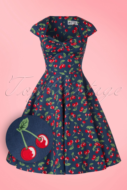 1950s Rockabilly Dresses   Rockabilly Clothing 50s April Cherry Swing Dress in Midnight Blue £49.81 AT vintagedancer.com