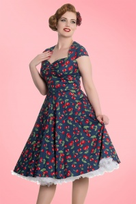 King Louie April 50s Cherry Blue Swing Dress 102 39 19529 4