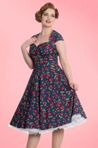King Louie April 50s Cherry Blue Swing Dress 102 39 19529 4
