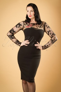50s Fabiola Floral Mesh Pencil Dress in Black