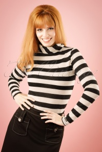 70s Gloria Striped Turtleneck in Black and Gold
