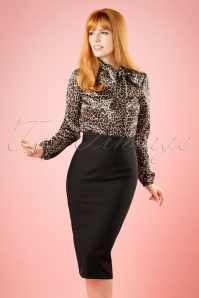 50s High Time Pencil Skirt in Black