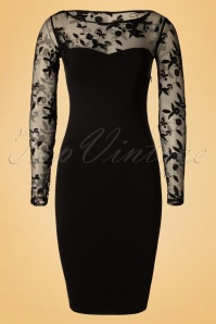 Vintage Chic Mesh Floral Black Pencil Dress 100 10 19156 20160718 0002Wa