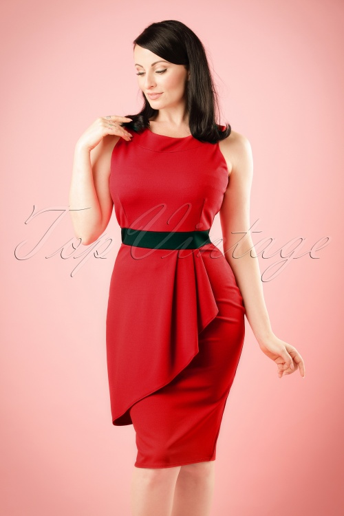 Vintage Chic Red and Black Classy Dress 100 20 19394 20160708 model01W