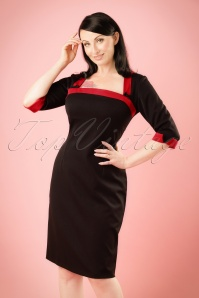 TopVintage Exclusive ~ 50s Viva Pencil Dress in Black and Red
