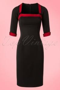 Hulahup TopVintage Exclusive Black Red Pencil Dress 100 10 18624 20160719 0002Wa