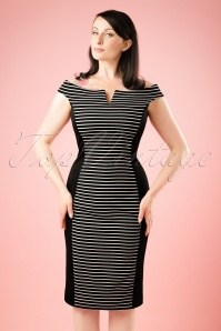 Vintage Chic Black And White Striped Pencil Dress 100 14 19320 01W
