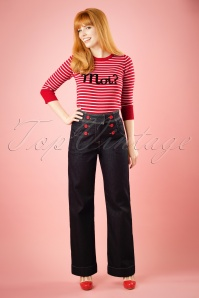TopVintage Exclusive ~ 60s Farrah Trousers in Denim