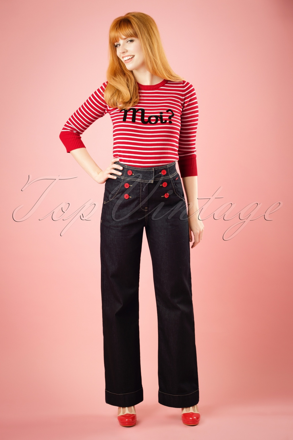 Women's 1960s Style Pants TopVintage Exclusive  60s Farrah Trousers in Denim £21.88 AT vintagedancer.com
