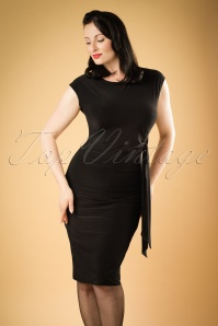 TopVintage Exclusive ~ 50s Sandy Sash Pencil Dress in Black