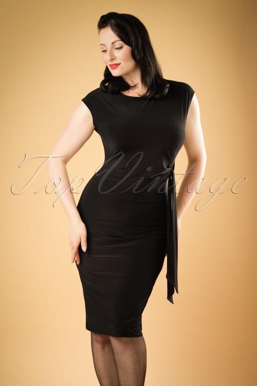 Vintage Chic Black Bow Pencil Summer Dress 100 10 19397 20160630 1W