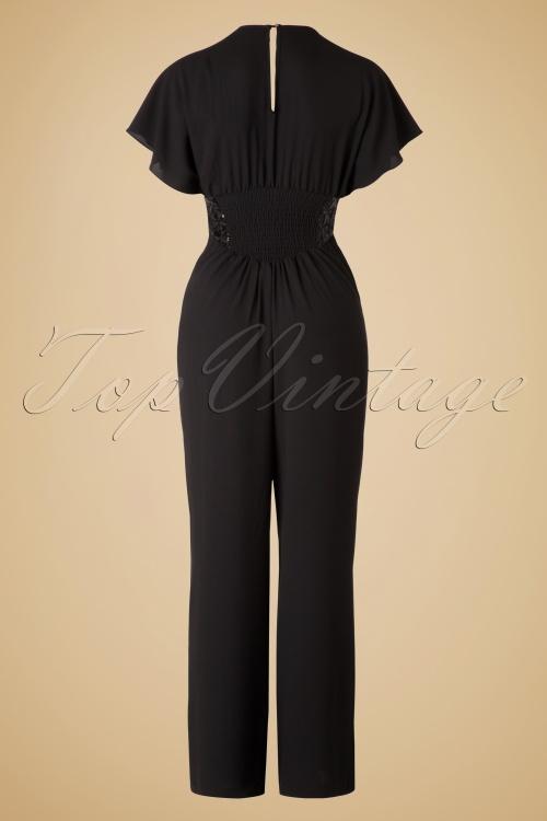 70s Marlene Sequin Jumpsuit in Black