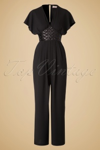 70s Marlene Sequin Jumpsuit in Black