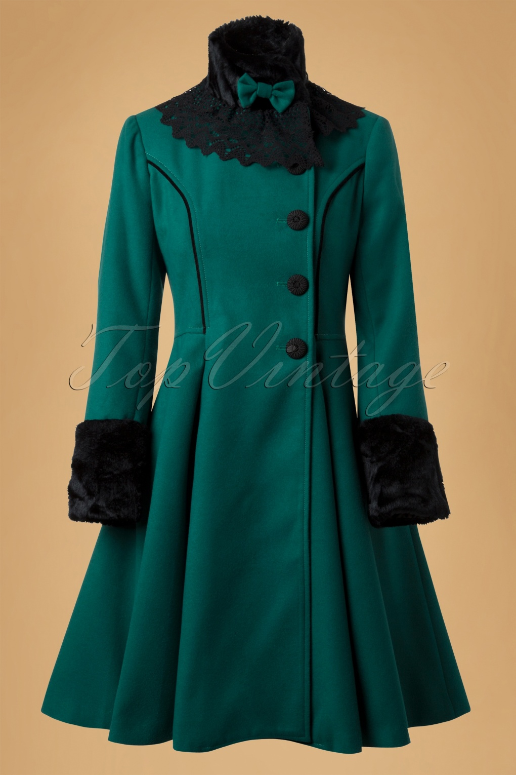 Vintage angeline coat in teal - Retro vintage ...