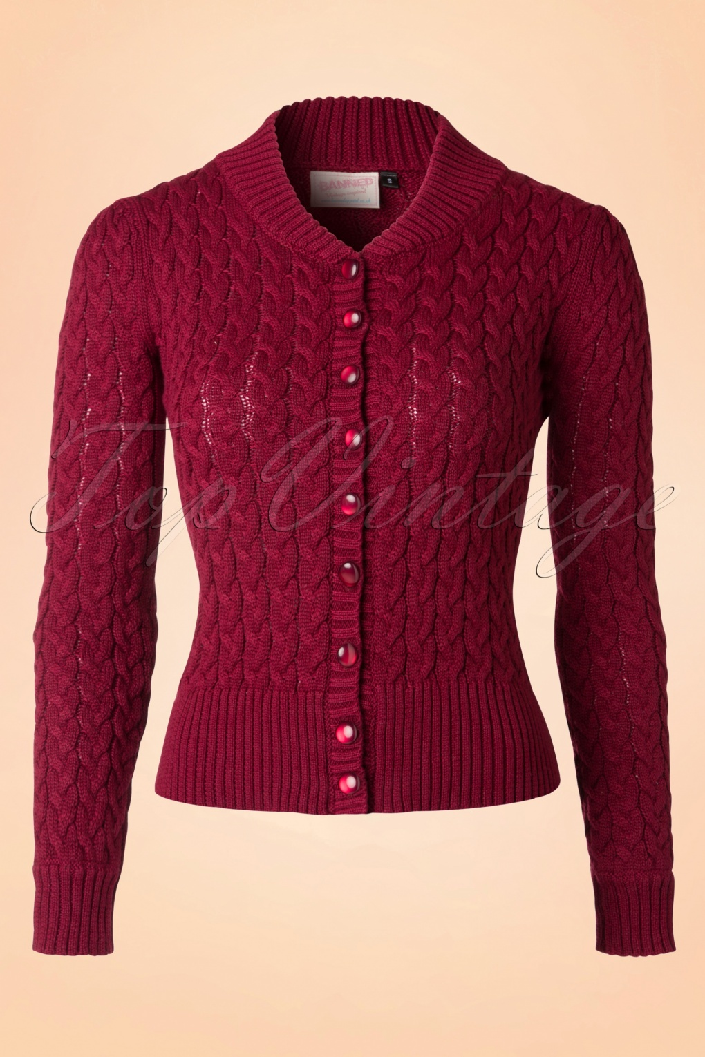 Retro Vintage Sweaters 50s No Doubt Cardigan in Raspberry Red £33.49 AT vintagedancer.com