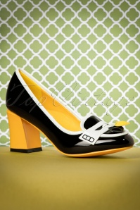 60s Lust for Life Lacquer Pumps in Black and Mustard