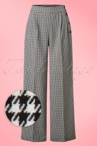 50s Jackson Trousers in Black and White Houndstooth