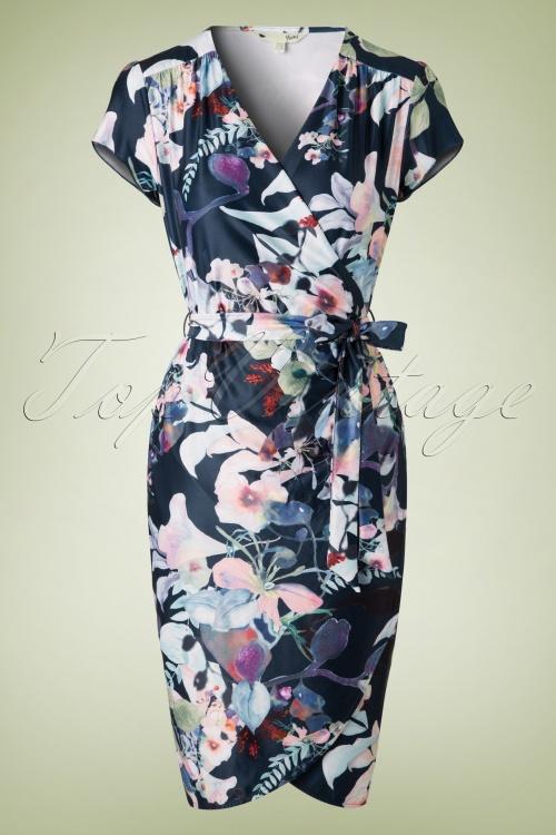 Yumi Winter Floral Dress in Navy 100 39 18342 20160120 02W