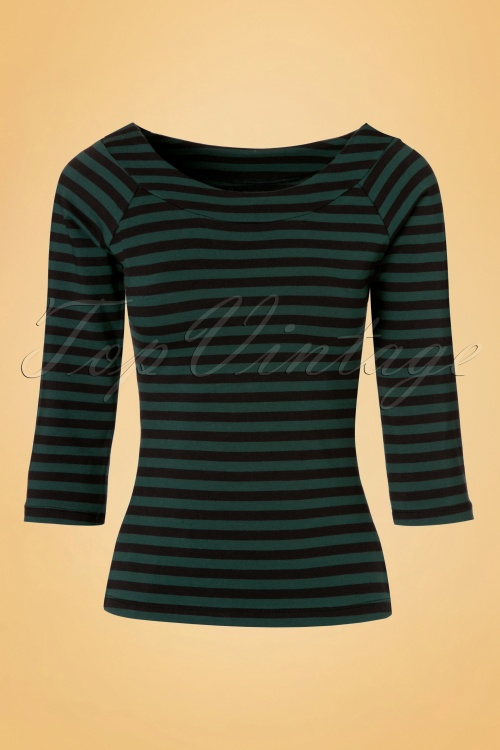 King louie Sarah Top Black and Green Stripes 19045 20160818 0004W