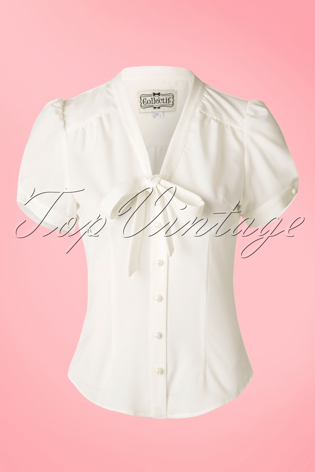 Vintage & Retro Shirts, Halter Tops, Blouses 50s Tura Bow Blouse in Ivory £35.85 AT vintagedancer.com