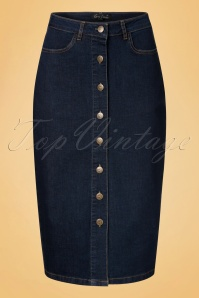 70s Rita Denim Pencil Skirt in Ink Blue