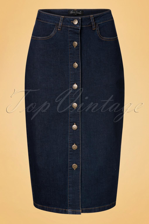 1960s Style Skirts 70s Rita Denim Pencil Skirt in Ink Blue £68.68 AT vintagedancer.com