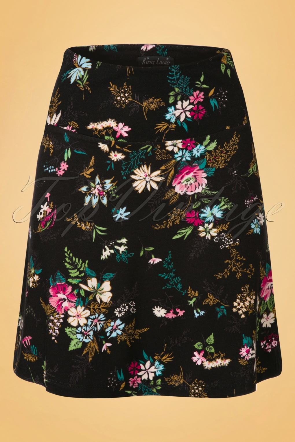 60s Secret Garden Floral Borderskirt In Black