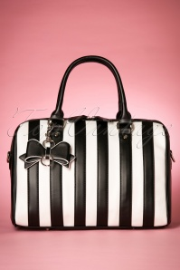 50s Lovely Viola Handbag in Black and White Stripes