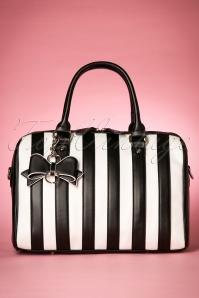 Lovely Viola Handbag Années 50 à Rayures noires et blanches