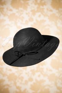 70s Clara Floppy Wool Hat in Black