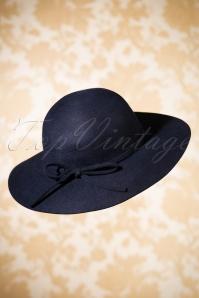 70s Clara Floppy Wool Hat in Navy