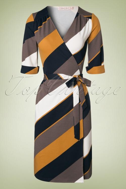 Traffic People Navy Yellow 70s Wrap Dress 100 57 18613 20160822 0004W