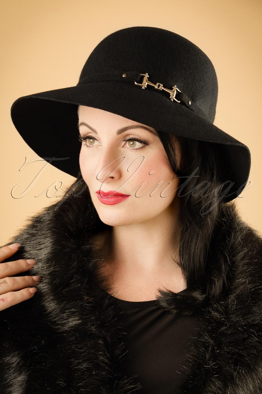 1930s Style Hats – New Vintage Inspired Designs 30s Cadence Garbo Wool Hat in Black £31.06 AT vintagedancer.com