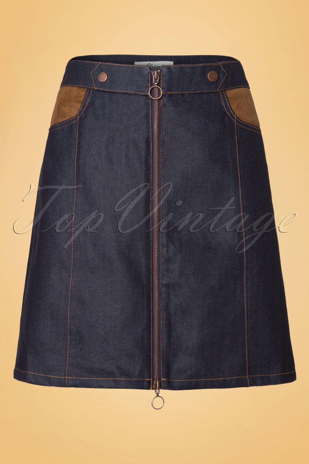 70s robin cleveland denim skirt in blue