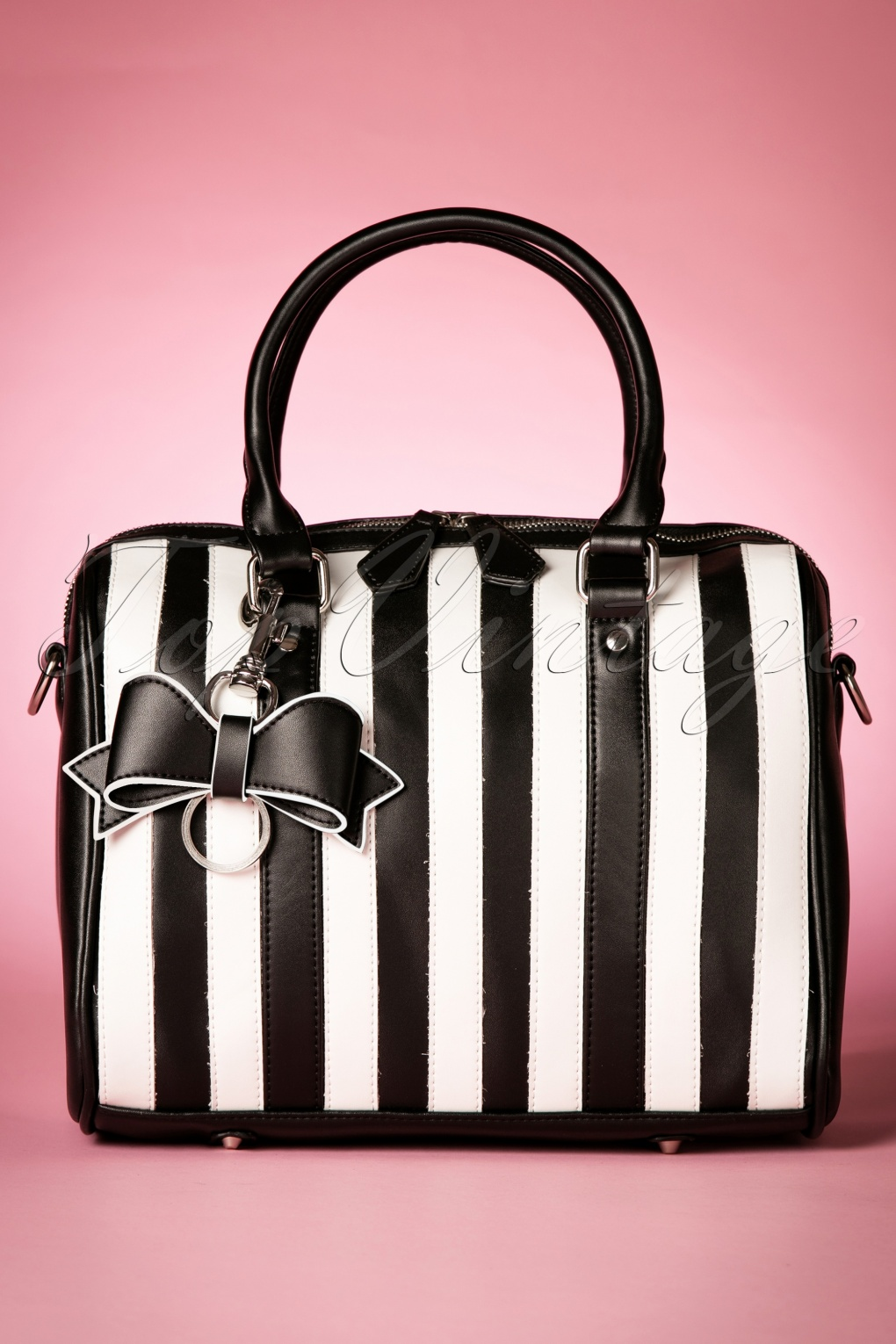 Retro Handbags, Purses, Wallets, Bags 50s Lovely Viola Small Handbag in Black and White Stripes £69.45 AT vintagedancer.com
