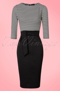 Vintage Chic 3 4 Sleeve Striped Pencil Dress 100 10 19605 20160823 0005W