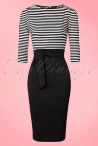 Vintage Chic 3 4 Sleeve Striped Pencil Dress 100 10 19605 20160823 0005W