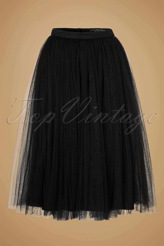 50s Wanda Midi Tulle Skirt In Black