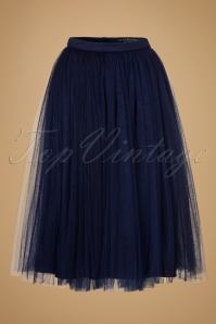 50s Wanda Midi Tulle Skirt in Navy