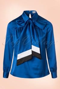 Janet Hostess Blouse Années1960 en Bleu royal