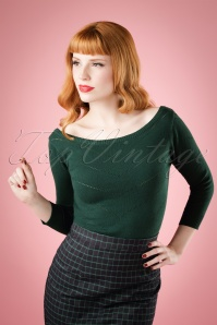 50s Bardot Jumper in Forest Green