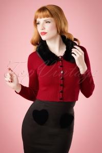 50s Pietra Fur Collar Cardigan in Dark Red
