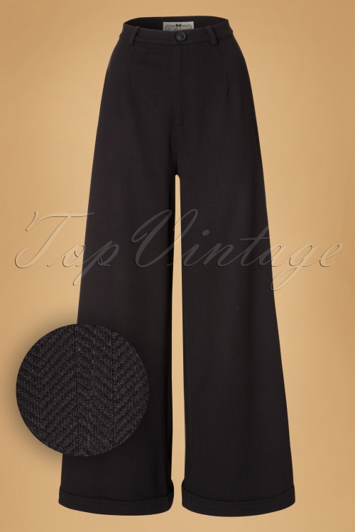 Collectif Clothing Rita Herringbone Trousers in Black 18903 20160602 0002W1