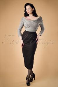 Collectif Clothing Miranda Herringbone Midi Skirt 18911 20160602 modelW