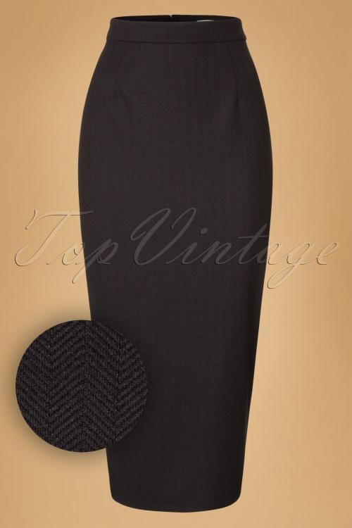 Collectif Clothing Miranda Herringbone Midi Skirt 18911 20160602 0007W1