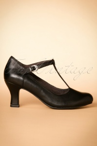 40s Neva T-strap Leather Pumps in Black