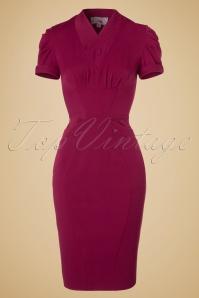 40s Germaine Lee Pencil Dress in Raspberry