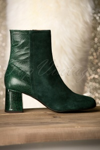 60s Jean Leather Booties in Dark Green
