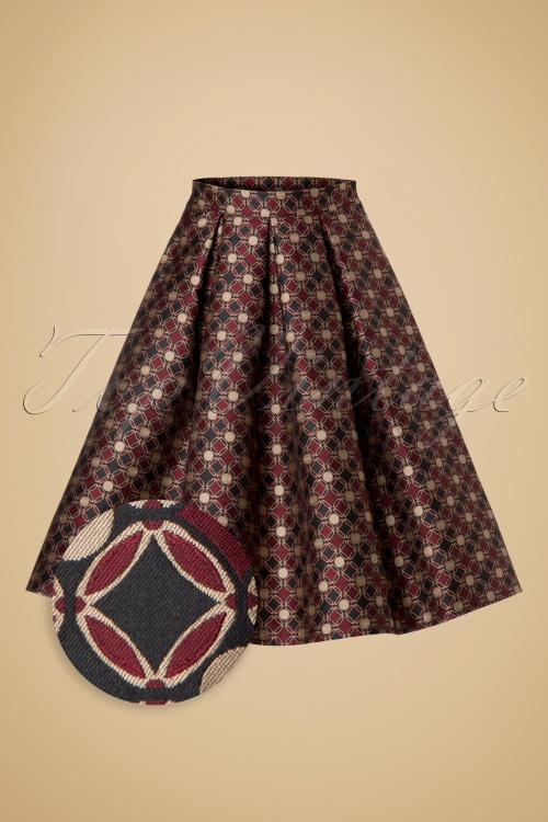 Miss Candyfloss Jaquard Swing Skirt in Black and Red 122 14 19360 20160830 0003WV