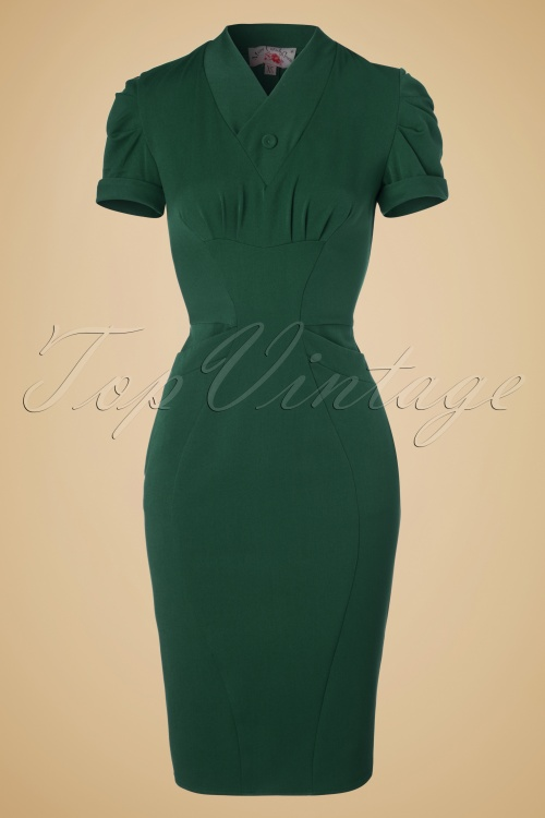 Miss Candyfloss Emerald Green Pencil Dress 100 22 19335 20160830 0004W